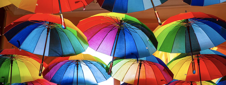 A collection of colourful umbrellas